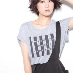 黒髪 ショート ストリート パーマ ヘアスタイルや髪型の写真・画像