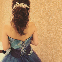 ヘアアレンジ 結婚式ヘアアレンジ セミロング 結婚式 ヘアスタイルや髪型の写真・画像