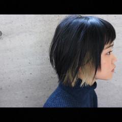 ナチュラル ボブ インナーカラー 切りっぱなし ヘアスタイルや髪型の写真・画像