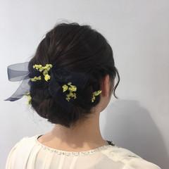 フェミニン セミロング 三つ編み 結婚式 ヘアスタイルや髪型の写真・画像