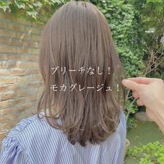ブリーチなし ヘアカラー ミルクティーベージュ ミディアム ヘアスタイルや髪型の写真・画像