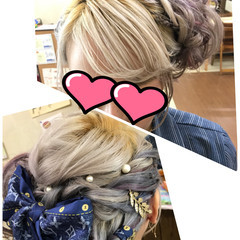 ガーリー ヘアアクセ 編み込み 結婚式 ヘアスタイルや髪型の写真・画像