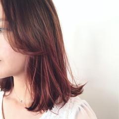 ミディアム ガーリー ピンク ボブ ヘアスタイルや髪型の写真・画像