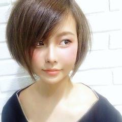 フェミニン ショート ショートボブ ミニボブ ヘアスタイルや髪型の写真・画像