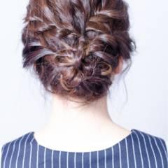 ゆるふわ 三つ編み 大人かわいい 編み込み ヘアスタイルや髪型の写真・画像
