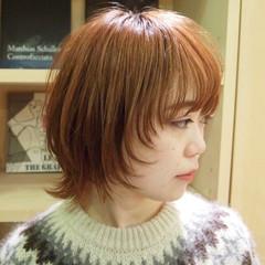 ナチュラル マッシュウルフ オレンジベージュ ネオウルフ ヘアスタイルや髪型の写真・画像