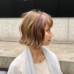 モテボブ ショートボブ 外ハネ フェミニン ヘアスタイルや髪型の写真・画像