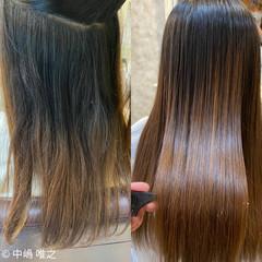 アッシュ セミロング ナチュラル 髪質改善 ヘアスタイルや髪型の写真・画像