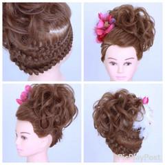 成人式 編み込み ミディアム アップスタイル ヘアスタイルや髪型の写真・画像