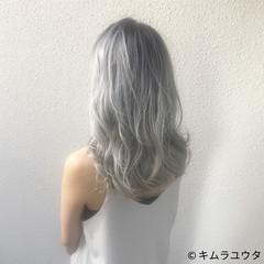 ブリーチ ハイトーン ホワイト セミロング ヘアスタイルや髪型の写真・画像