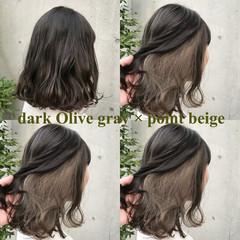 ボブ ナチュラル グレージュ オリーブアッシュ ヘアスタイルや髪型の写真・画像