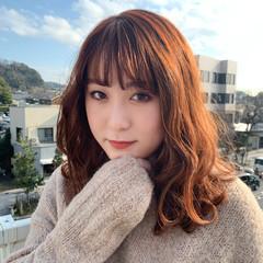 大人可愛い フェミニン オレンジブラウン セミロング ヘアスタイルや髪型の写真・画像