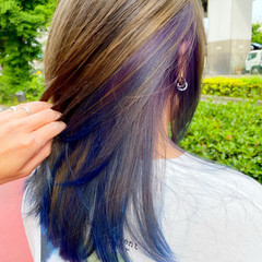 ストリート ブルー インナーカラー ミディアム ヘアスタイルや髪型の写真・画像