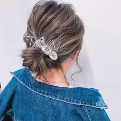 フェミニン デート ミディアム アウトドア ヘアスタイルや髪型の写真・画像