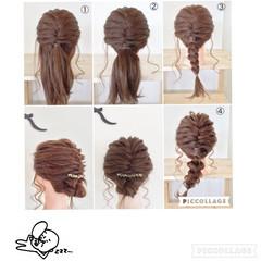 セミロング 編み込み ヘアアレンジ フィッシュボーン ヘアスタイルや髪型の写真・画像