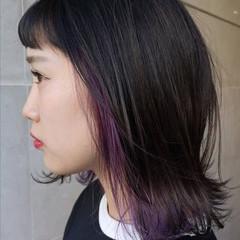 ストリート ボブ パープル インナーカラー ヘアスタイルや髪型の写真・画像