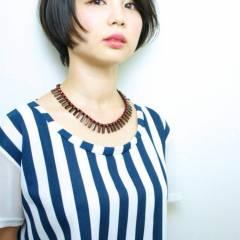 ナチュラル 黒髪 ショート ストリート ヘアスタイルや髪型の写真・画像