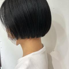 黒髪 ミニボブ ショートボブ ナチュラル ヘアスタイルや髪型の写真・画像