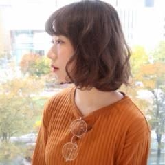 フェミニン 大人かわいい ゆるふわ ボブ ヘアスタイルや髪型の写真・画像