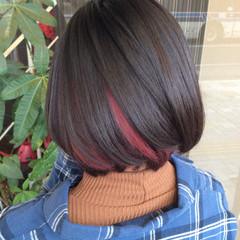 ボブ ヘアカラー インナーカラー ガーリー ヘアスタイルや髪型の写真・画像