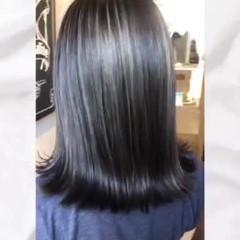 セミロング バレイヤージュ コントラストハイライト ストリート ヘアスタイルや髪型の写真・画像