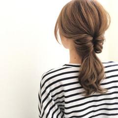 簡単ヘアアレンジ くるりんぱ ショート セミロング ヘアスタイルや髪型の写真・画像