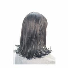 ダークアッシュ アッシュ ガーリー セミロング ヘアスタイルや髪型の写真・画像
