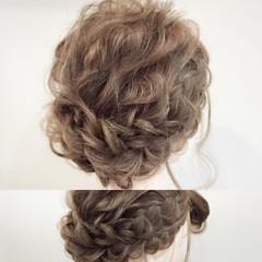 三つ編み ゆるふわ セミロング 大人かわいい ヘアスタイルや髪型の写真・画像