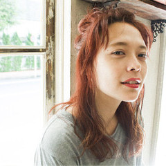 セミロング レッド ショート 簡単ヘアアレンジ ヘアスタイルや髪型の写真・画像