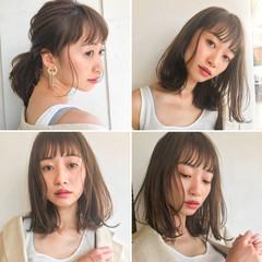 ミディアム 夏 涼しげ フェミニン ヘアスタイルや髪型の写真・画像