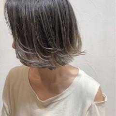ナチュラル 透明感 ボブ グラデーションカラー ヘアスタイルや髪型の写真・画像