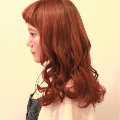 フェミニン ナチュラル ロング ピンク ヘアスタイルや髪型の写真・画像
