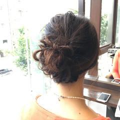 編み込み 結婚式 セミロング 三つ編み ヘアスタイルや髪型の写真・画像