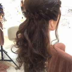 ショート フェミニン ハーフアップ ゆるふわ ヘアスタイルや髪型の写真・画像