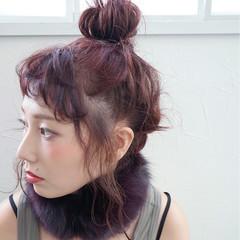 お団子 大人女子 ヘアアレンジ ベリーピンク ヘアスタイルや髪型の写真・画像