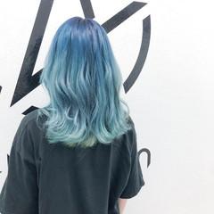 ホワイトブリーチ ストリート グラデーションカラー セミロング ヘアスタイルや髪型の写真・画像