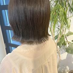 透明感カラー ショートボブ ナチュラル 切りっぱなしボブ ヘアスタイルや髪型の写真・画像