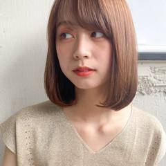 ストレート 縮毛矯正ストカール ガーリー ロブ ヘアスタイルや髪型の写真・画像