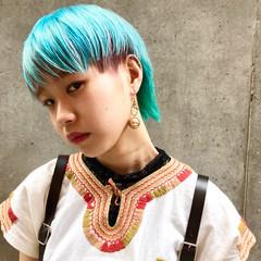 ストリート ウルフカット ショートヘア ターコイズブルー ヘアスタイルや髪型の写真・画像