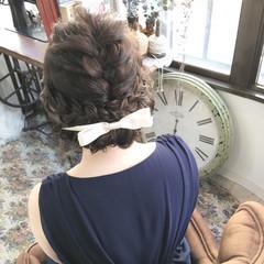 ミディアム 三つ編み 結婚式 ヘアアレンジ ヘアスタイルや髪型の写真・画像