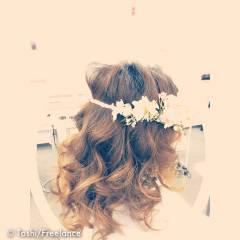 二次会 ロング ヘアアレンジ ガーリー ヘアスタイルや髪型の写真・画像