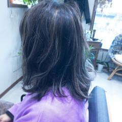 モード ミディアム 黒髪 外ハネ ヘアスタイルや髪型の写真・画像