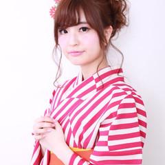 セミロング 後れ毛 和装 ヘアアレンジ ヘアスタイルや髪型の写真・画像