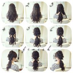 ロング 編み込み 三つ編み ヘアアレンジ ヘアスタイルや髪型の写真・画像