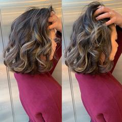 フェミニン 透明感カラー ハイライト ヘアカラー ヘアスタイルや髪型の写真・画像