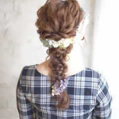 ヘアアレンジ 花嫁 編み込み ロング ヘアスタイルや髪型の写真・画像