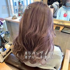 モテ髪 ラベンダーピンク イルミナカラー セミロング ヘアスタイルや髪型の写真・画像