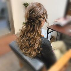 結婚式 ハーフアップ ヘアセット フェミニン ヘアスタイルや髪型の写真・画像
