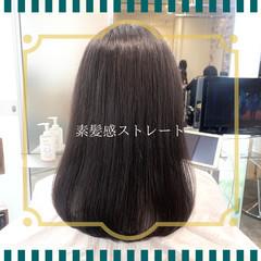 セミロング ストレート 髪質改善 前髪 ヘアスタイルや髪型の写真・画像