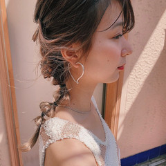 インナーカラー セミロング ハイトーンカラー 簡単ヘアアレンジ ヘアスタイルや髪型の写真・画像